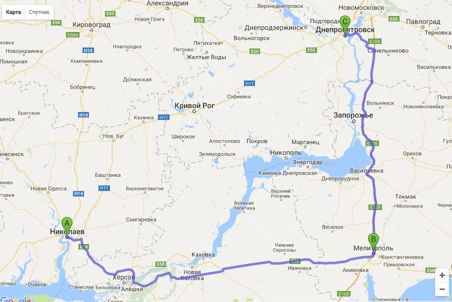 маршрут такси Николаев - Днепр
