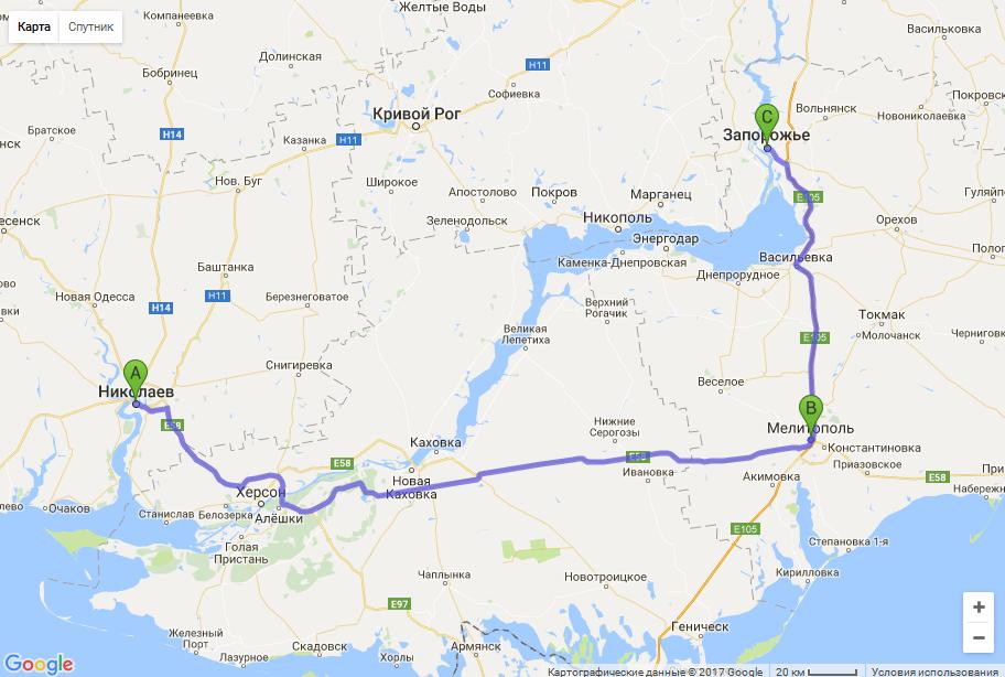 маршрут межгород такси Николаев - Запорожье