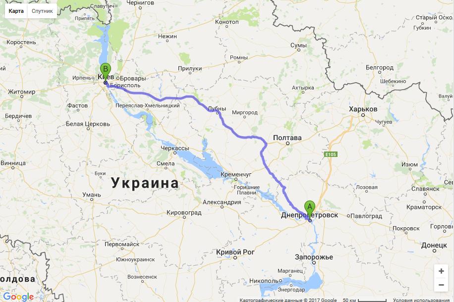 маршрут такси из Днепра в Киев