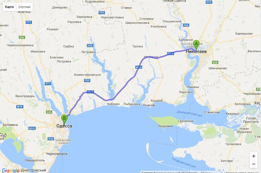 маршрут такси Николаев - Одесса