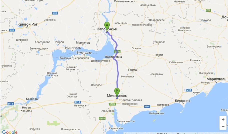 такси Запорожье - Мелитополь