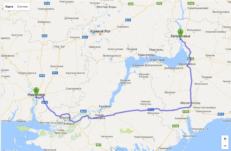 такси Запорожье — Николаев